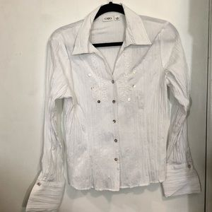 Cato Crinkled Button Down